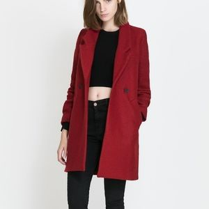 Zara red coat wool double breasted peacoat small